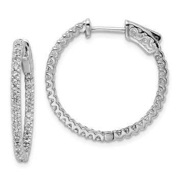 Sterling Silver Rhodium-plated CZ 66 Stone In and Out Hoop Earrings