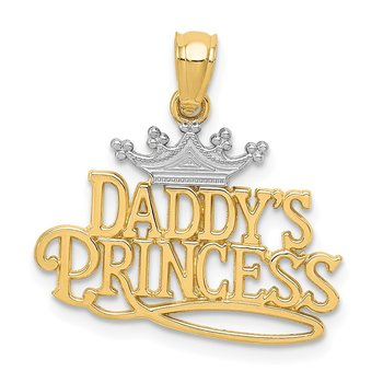 14k and Rhodium Daddys Princess Pendant