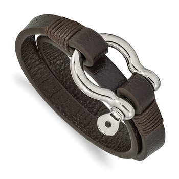 Stainless Steel Polished Brown Leather 16in Wrap Shackle Bracelet