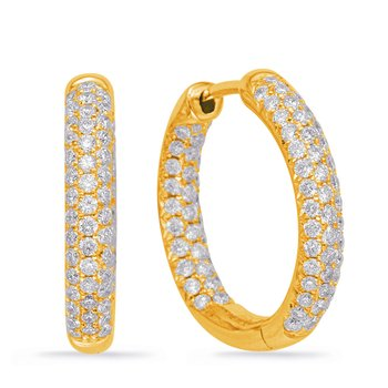 Yellow Gold Hoop Earring Pave