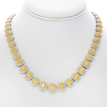 Oval Double Halo Diamond Necklace