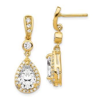 Cheryl M Sterling Silver Gold-plated Pear CZ Post Dangle Earrings