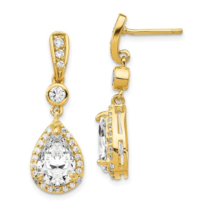Cheryl M Cheryl M Sterling Silver Gold-plated Pear CZ Post Dangle Earrings