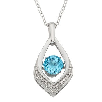 Sterling Silver Blue Topaz Diamond Accent Pendant