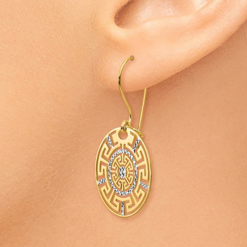 Leslie's Leslie's 14K Two-tone Greek Key Dangle Earrings