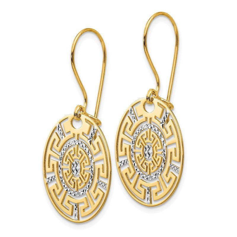 Leslie's Italian Gold Leslie's 14K Two-tone Greek Key Dangle Earrings