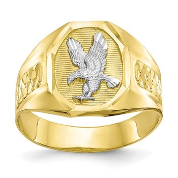 10k & Rhodium Men's Eagle Ring