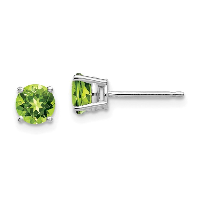 Quality Gold 14k White Gold 5mm Peridot Earrings