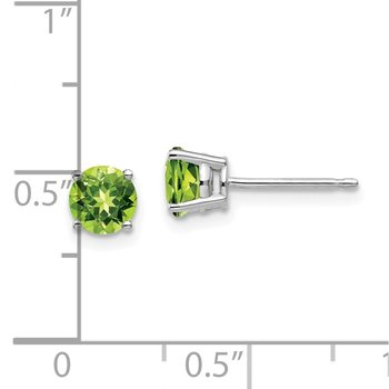 14k White Gold 5mm Peridot Earrings