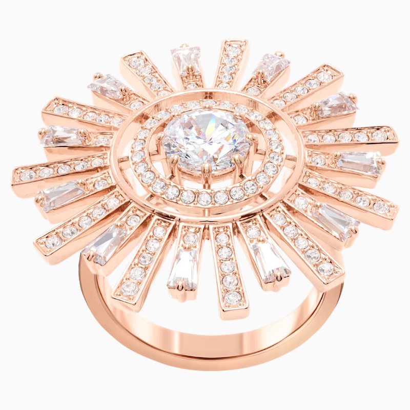 Swarovski Sunshine Cocktail Ring, White, Rose-gold tone plated