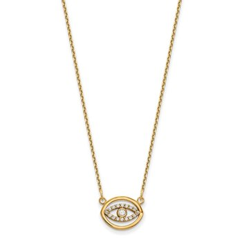 14ky Small Necklace Diamond Gold Halo Evil Eye