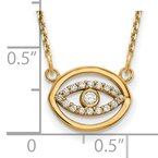 Quality Gold 14ky Small Necklace Diamond Gold Halo Evil Eye