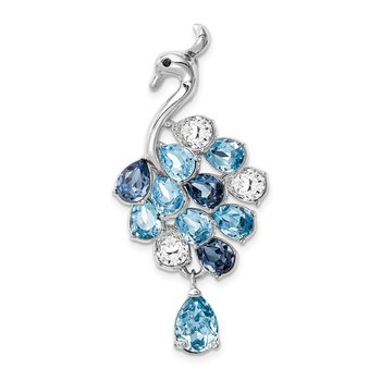 Sterling Silver RH-plated Clear/Blue Crystal Peacock Chain Slide