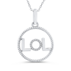 Essentials 10K White Gold .06 Ct Diamond Circle Pendant with Chain