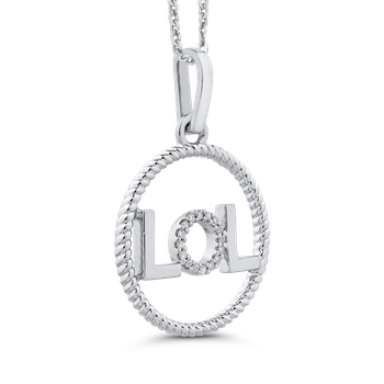 10K White Gold .06 Ct Diamond Circle Pendant with Chain