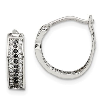 Sterling Silver Clear and Black CZ Hinged Hoop Earrings