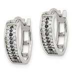 Quality Gold Sterling Silver Clear and Black CZ Hinged Hoop Earrings