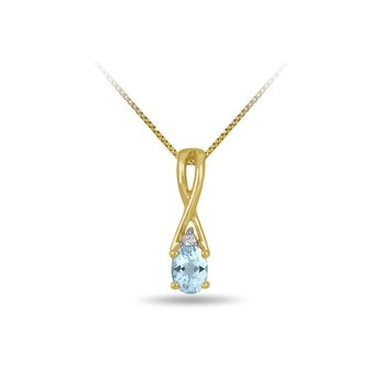 10K YG and diamond and Aquamarine infinity style birthstone pendant