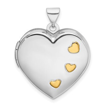 Sterling Silver Rhodium-plated w/Gold-plating Heart Locket