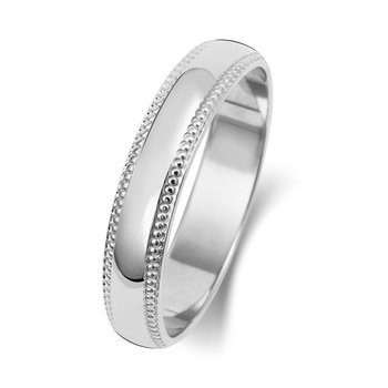 18Ct White Gold 4mm D Shape Millgrain Wedding Ring