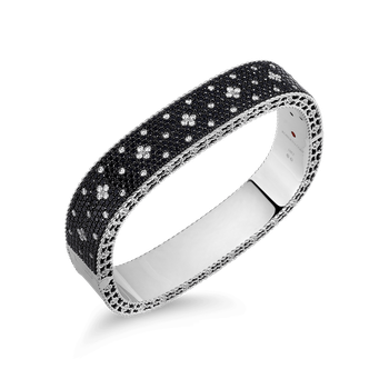 Medium Bangle With Black And White Fleur De Lis Diamonds
