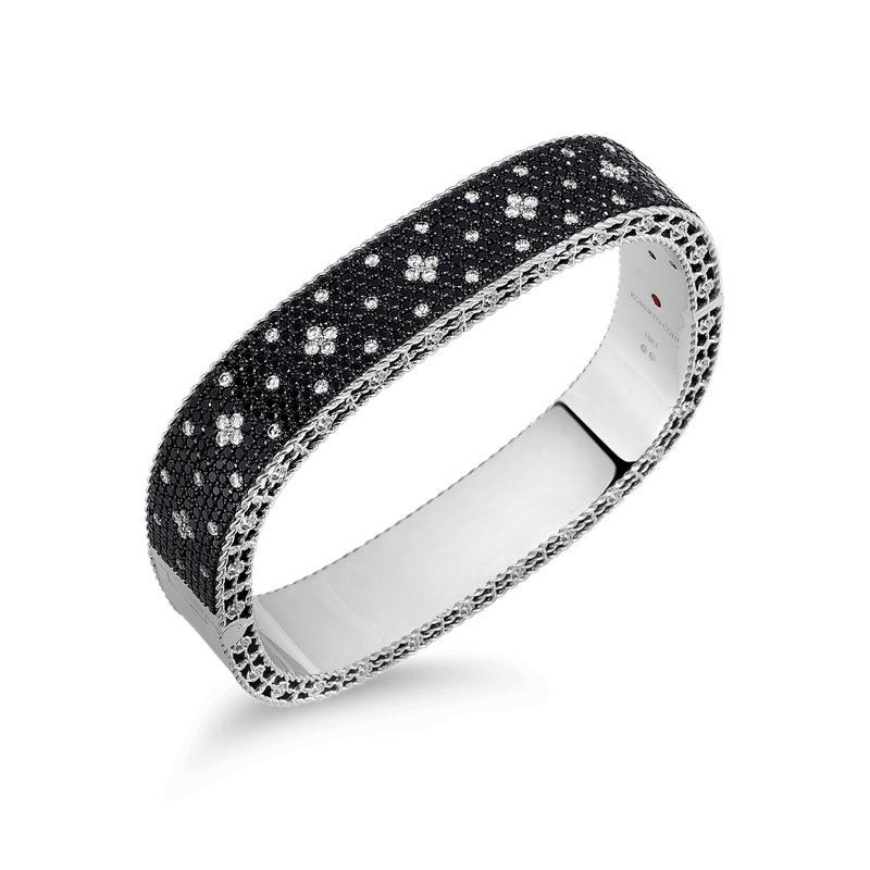 Roberto Coin Medium Bangle With Black And White Fleur De Lis Diamonds