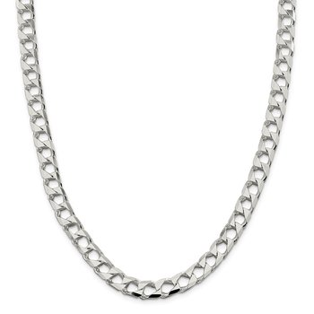 Sterling Silver 8.6mm Flat Open Curb Chain