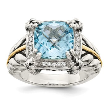 Sterling Silver w/14k Sky Blue Topaz & Diamond Ring