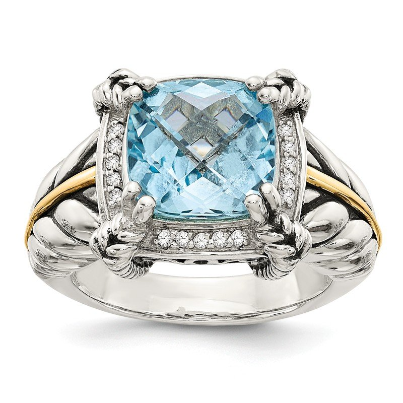 Shey Couture Sterling Silver w/14k Sky Blue Topaz & Diamond Ring