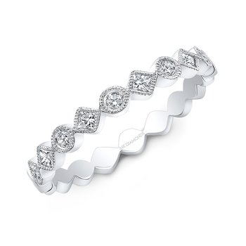 White Gold Alternating Round And Diamond Shape Stackable Band