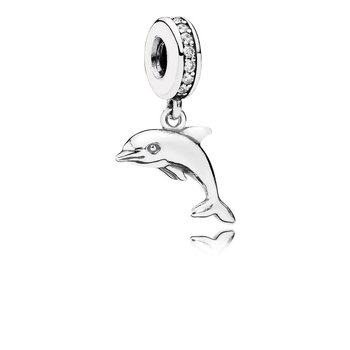Playful Dolphin Dangle Charm, Clear CZ