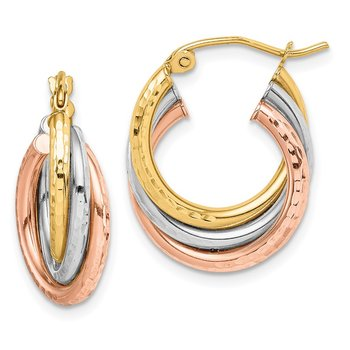 10k Tri-color Diamond-cut Triple Hoop Earrings