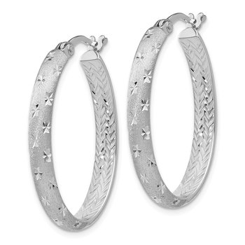 Leslie's Sterling Silver Rhodium In/Out Diamond-cut Oval Earrings