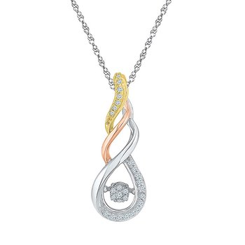 10kt White Gold Womens Round Diamond Moving Twinkle Cluster Teardrop Tri-tone Pendant 1/8 Cttw