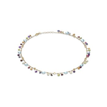 Paradise Collection 18K Yellow Gold Blue Topaz and Mixed Gemstone Single Strand Necklace