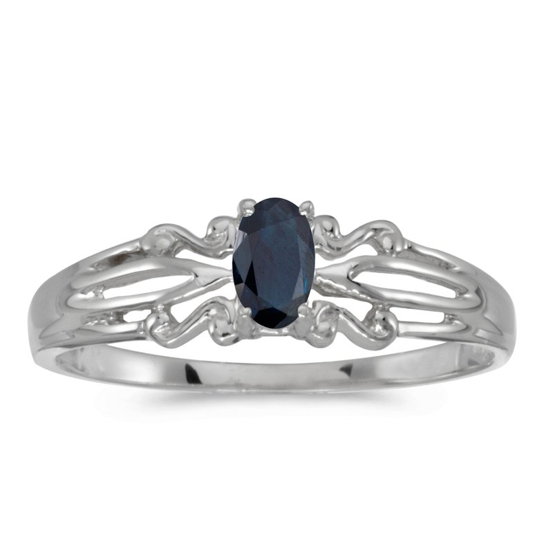 Color Merchants 10k White Gold Oval Sapphire Ring