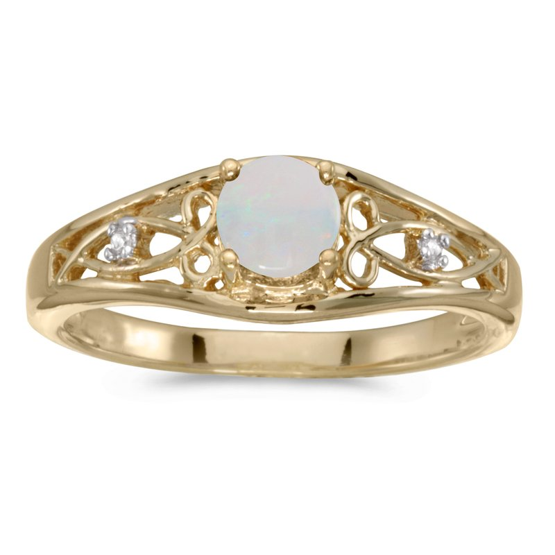 Color Merchants 10k Yellow Gold Round Opal And Diamond Ring