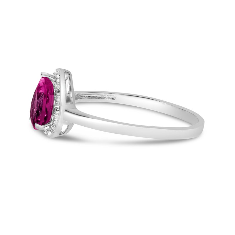 Color Merchants 10k White Gold Pear Ruby And Diamond Ring