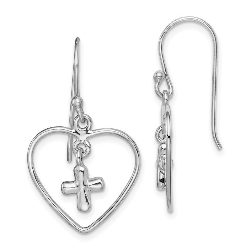 Sterling Silver Rhodium-plated Cross Inside Heart Dangle Earring