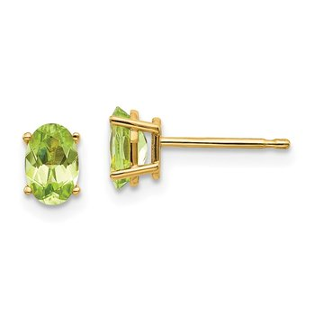 14k 6x4 Oval August/Peridot Post Earrings
