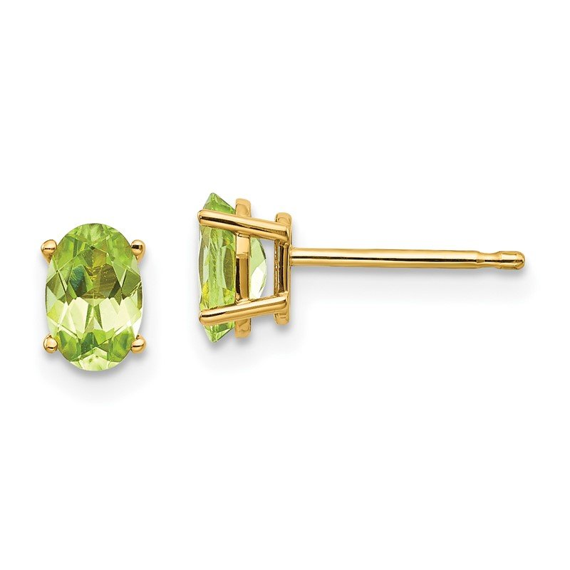 Quality Gold 14k 6x4 Oval August/Peridot Post Earrings