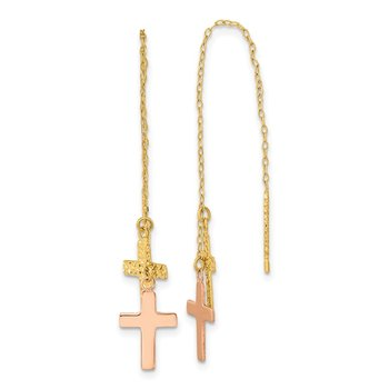 14k Yellow & Rose D/C Polished Crosses Threader Earrings