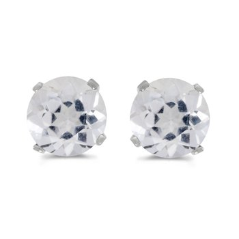 5 mm Natural Round White Topaz Stud Earrings Set in 14k White Gold