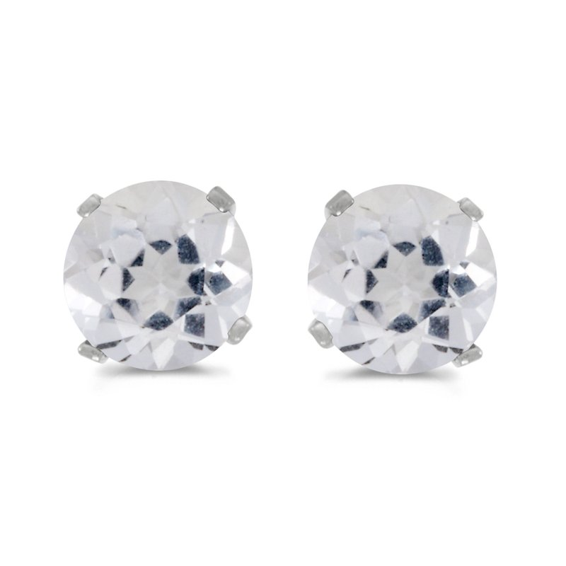 Color Merchants 5 mm Natural Round White Topaz Stud Earrings Set in 14k White Gold