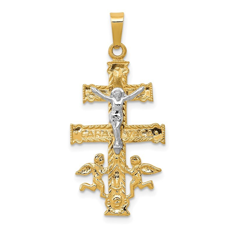 Quality Gold 14k Two-tone Cara Vaca Crucifix Pendant