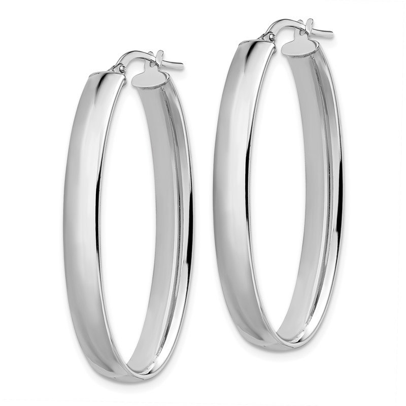 JC Sipe Essentials Leslie's 14K White Gold Polished Oval Hoop Earrings