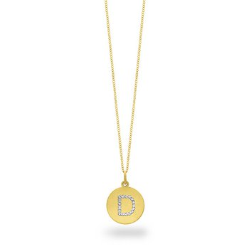 "Diamond Disc Initial ""D"" Necklace in 14k Yellow Gold with 17 Diamonds weighing .09ct tw."