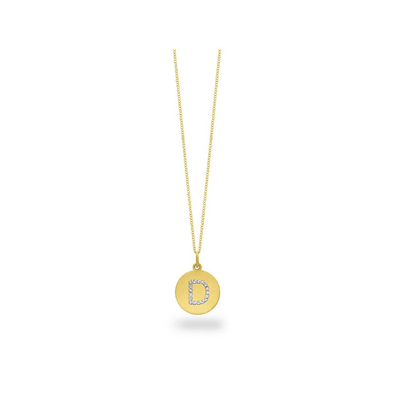 "KC Designs Diamond Disc Initial ""D"" Necklace in 14k Yellow Gold with 17 Diamonds weighing .09ct tw."