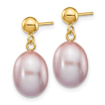 14k 8-9mm Purple Rice Freshwater Cultured Pearl Dangle Post Earrings