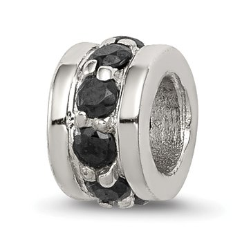 Sterling Silver Black CZ Spacer Enhancer